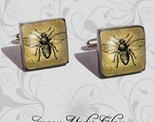 VINTAGE BUMBLE BEE - Pair of Handmade Recycled Glass Image Cufflinks in Silver Tone