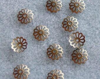 Antique Bronze Bead Caps 9mm Lead Free 317