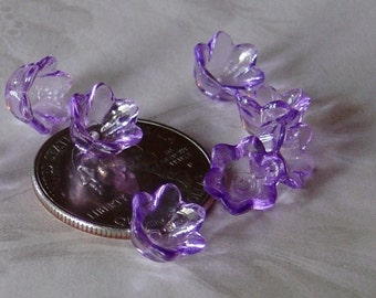 Transparent Lucite Acrylic Purple Flower Cap Beads 10mm x 6mm 411