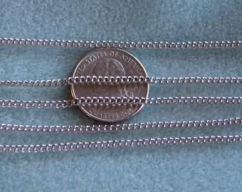 Antique Silver Plated Twist Curb Chain 2mm x 3mm Nickel Lead Free 377