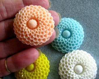 Large Mum Flower Cabochons Acrylic Lucite Resin 35mm Choose Your Colors 901