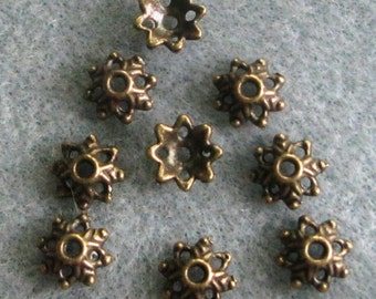 Antique Bronze Bead Caps Lead Free 9mm 319