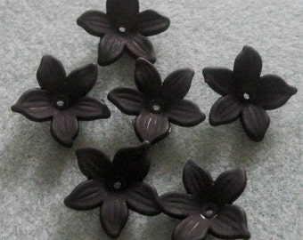 Black Frosted Lucite  Acrylic Flower Cap Bead Mix  20mm 415