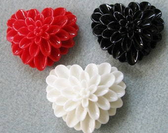 Large Mum Heart Flower Cabochons Lucite Acrylic 33mm Choose Your Colors 915