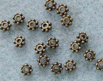 Antique Bronze Daisy Spacer Bead 4.3mm Lead Free 820