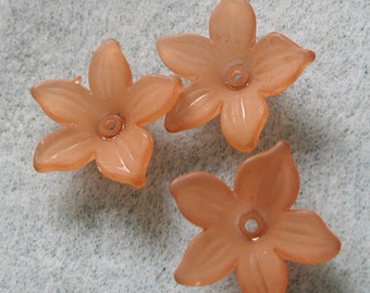 Coffee Brown Frosted Lucite  Acrylic Flower Cap Bead 20mm 415