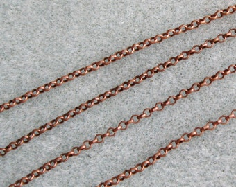 SALE Antique Copper Round Rolo Chain 2mm Nickel Lead Free 371-AC