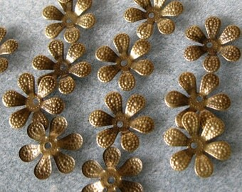 Antique Bronze Daisy Flower Bead Caps 16mm Nickel Free 308