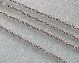 SALE Gunmetal Silver Plated Round Rolo Chain 2mm Lead Free 371
