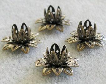Antique Bronze Filigree Lotus Flower Bead Caps 16mm SALE 515