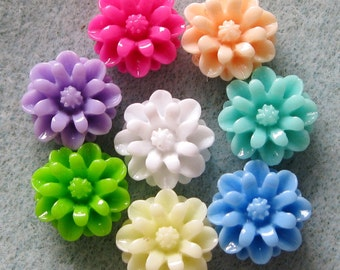 Sale Small Resin Mum Flower Cabochon Mix 12mm Choose Your Colors 913