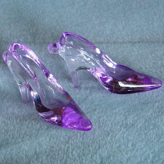 2pcs purple lucite acrylic high heel shoes charm pendant