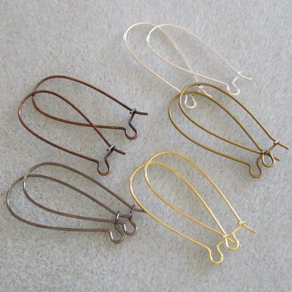 50pcs 33mm Long Kidney Ear Wire Mix 724-r