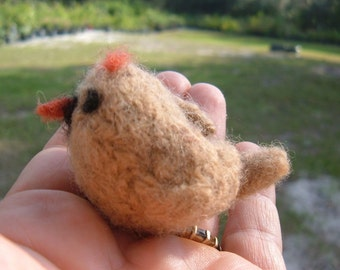 Felted Female Cardinal - Mini Bird Series