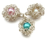 Mama Bird Nest Pendant -- Sterling Silver with One Egg -- Your Choice of Pearl in White Blue or Pink