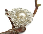 Mama Bird Nest Pendant -- Sterling Silver -- One White Pearl Egg
