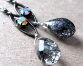 Black Needles Earrings - Rhinestone Tourmilated Quartz Briolette