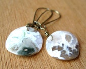 Underwater Earrings - White Ocean Jasper Coin Brass