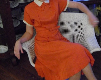 Rare Tangerine Orange  Early 40s Swing Dress with Cute Buttons