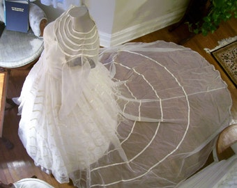 Reduced For Quick Sale  Rare 40's 50's Vintage Art Deco Wedding Gown  30's Revival