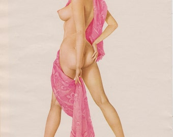 Rare Pink Towel Vintage Vargas Nude Pin Up Girl Picture