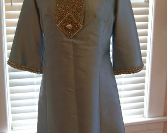 Vintage 60's dress silk with heavy beading