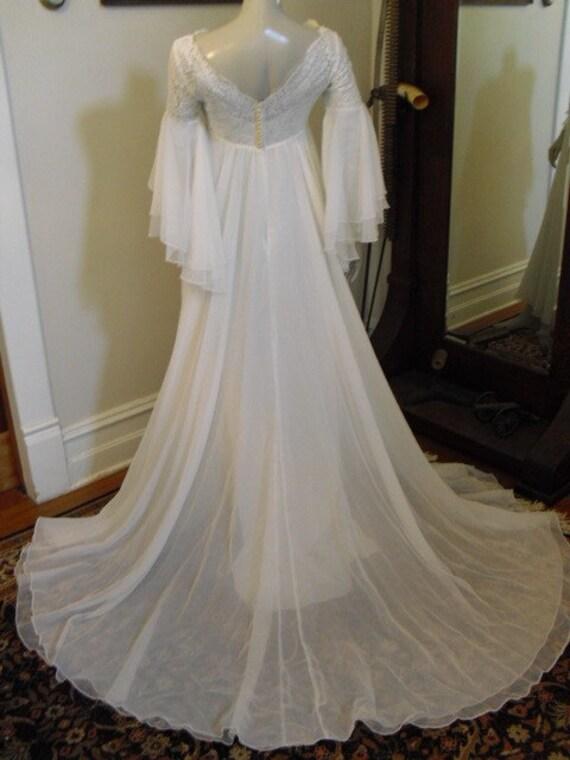 Final SALE  Chiffon Dream Wedding Gown Designer Alfred Angelo Piccione & wife Edythe Vincent Piccione. 50's 60's Empire lace and chiffon