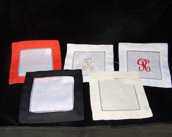 Monogrammed Linen Coasters