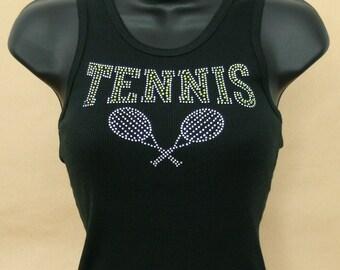 Rhinestone Tennis Tank Tshirt, Tennis Tshirt, Tennis, Rhinestones