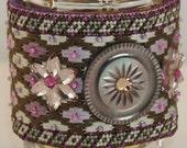 Wrist Cuff  Needlepoint Bracelet - Vintage Glass Flowers Embellished Beehive Pattern - Size 7.50 (W154)