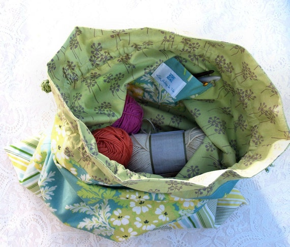 Sewing Knitting Crochet Pouch - Bright Yellow Embroidered Daisy Drawstring Project Pouch (PCH104)