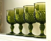 set of 4 70s avacado green indiana glass water goblets