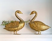 Reserved for Paula vintage golden swan figurine flower frog centerpieces