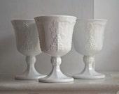 Reserved for Fleuriste Vintage Indiana Harvest Grape Milk Glass Goblets