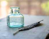 Antique 1800s Caw's Aqua Glass Embossed Ink Bottle,  Victorian Ink Well, School House, Hand Blown Glass,