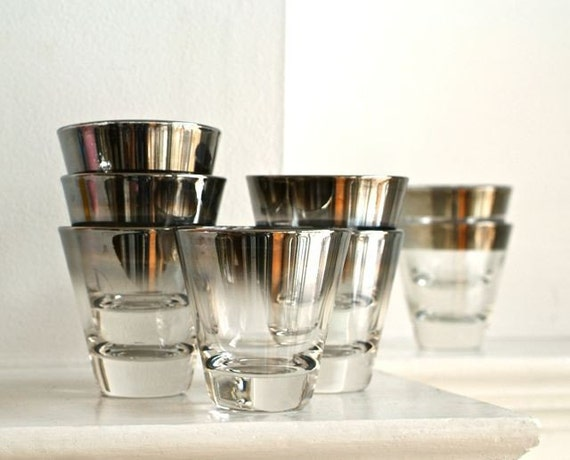 1960s silver banded ombre low ball glasses