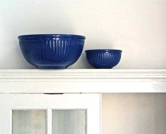 cobalt blue stoneware mixing bowl set