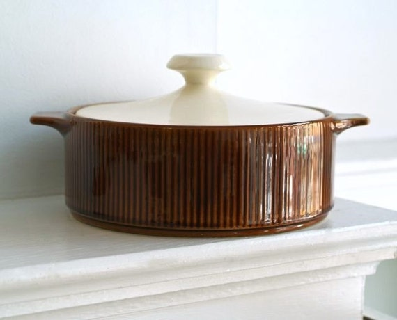 danish modern amber and creme ceramic covered casserole