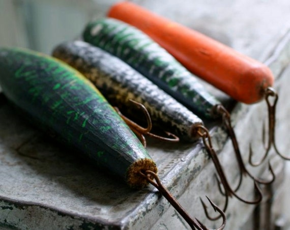 set of four vintage wood fishing lures