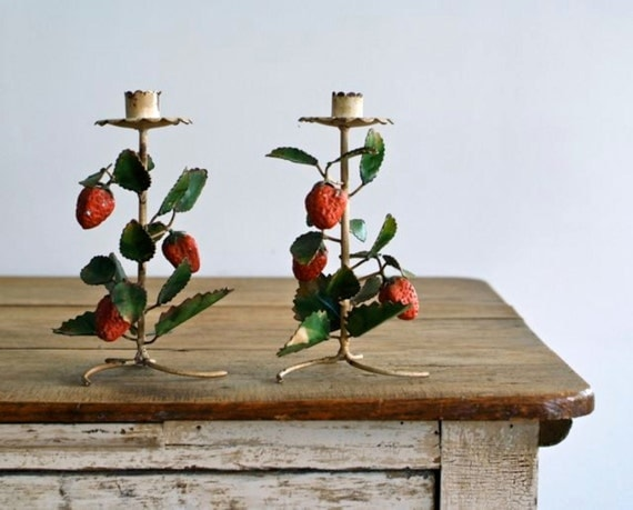 RESERVED FOR CHIARA vintage toleware strawberry candle holders