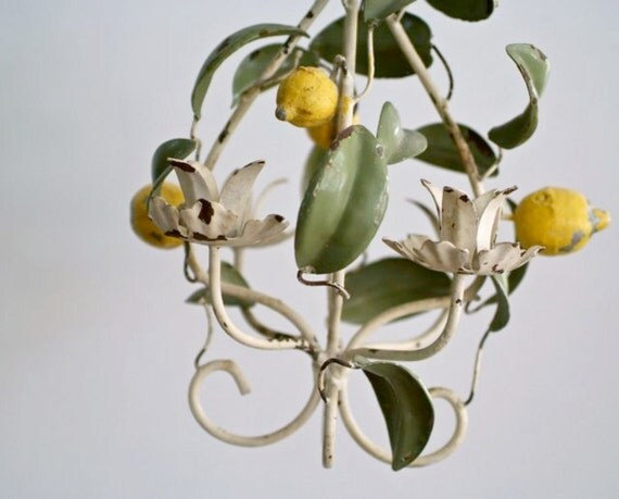 Reserved for Carter italian tole work lemons and leaves candelabra