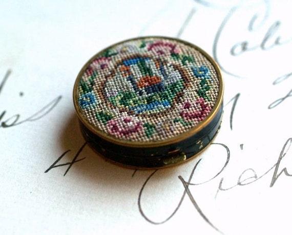 vintage petit point pill box compact