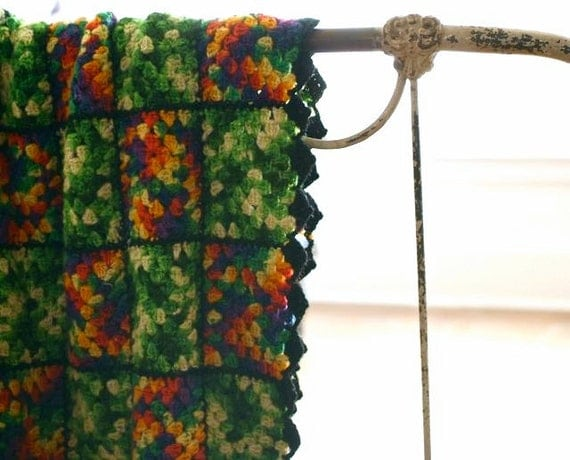 vintage crochet granny squares blanket or throw