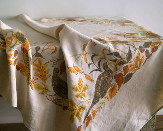 Reserved for Anne-Marie Virginia Zito Linen Pheasant Tablecloth and Napkin Set, 1960s Autumn Linen Set