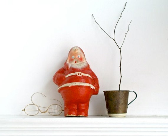 Reserved for Celine Vintage Santa Paper Mache Candy Container from 5gardenias