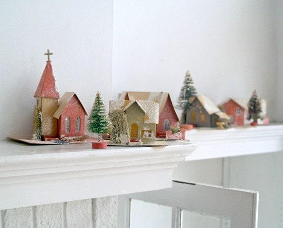Vintage Cardboard Christmas Village
