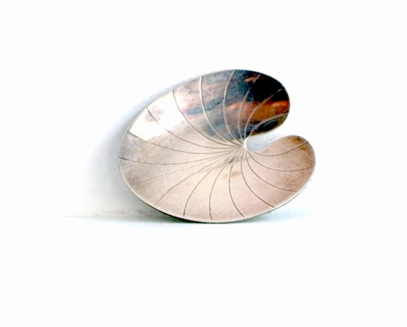 Mid Century Modernist Danish Sterling Silver Leaf Brooch