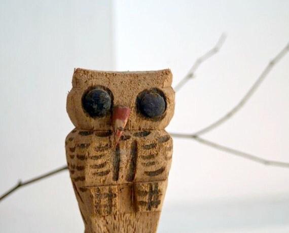 Vintage Hand Carved Cork Owl Figure