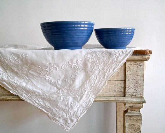 Reserved for Courtney Pair of Antique Stoneware Mixing Bowls-- With French Blue Glaze