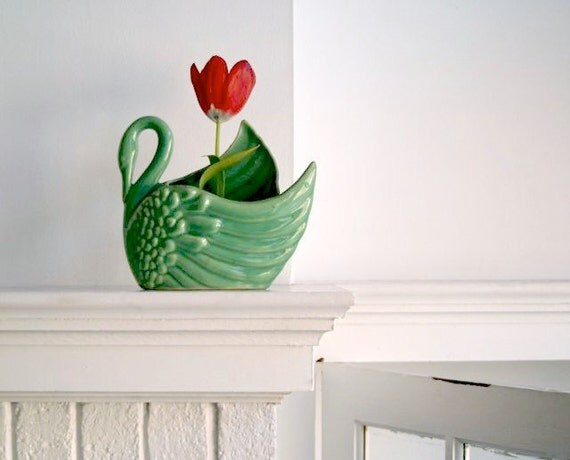 Vintage Art Pottery Swan Vase or Planter